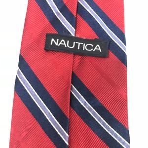 Nautica Skinny Tie - Red/Navy Striped
